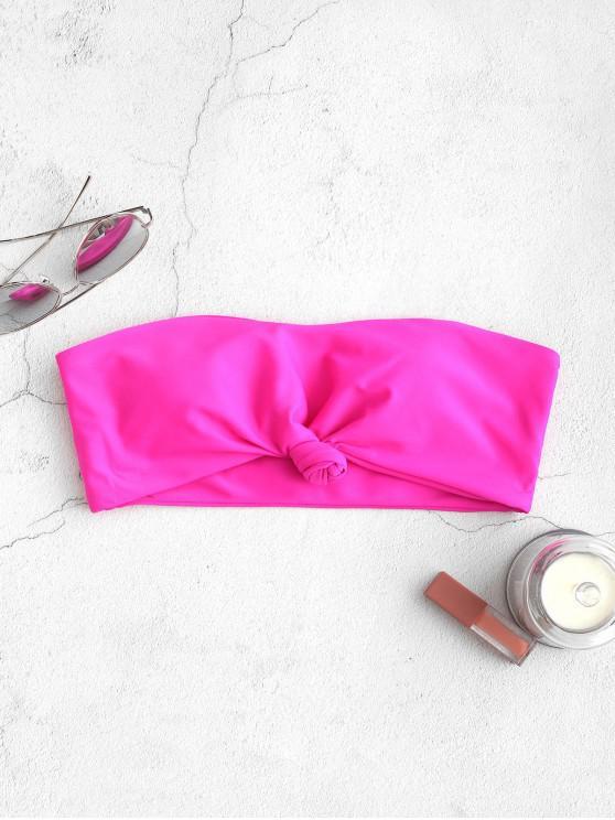 Top de bikini bandeau con dobladillo anudado de ZAFUL - Rosa Brillante L