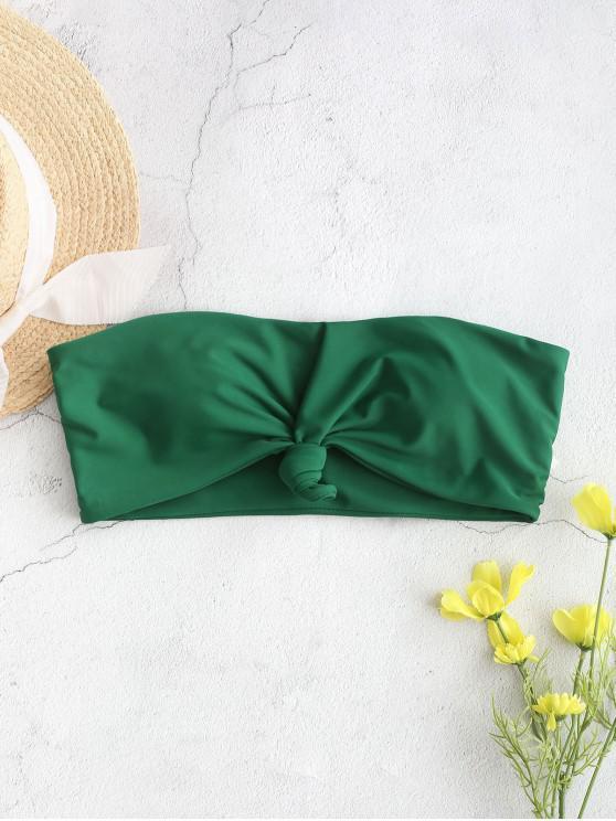 shop ZAFUL Knot Hem Bandeau Bikini Top - MEDIUM SEA GREEN M