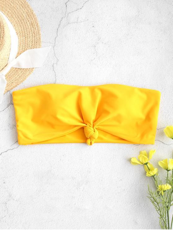 women ZAFUL Knot Hem Bandeau Bikini Top - RUBBER DUCKY YELLOW S