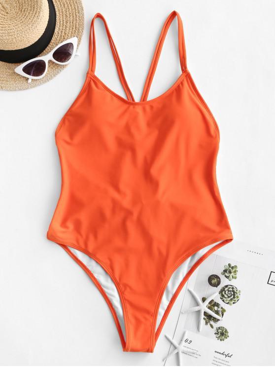 shops ZAFUL Backless Dual Straps One-piece Swimsuit - ORANGE XL