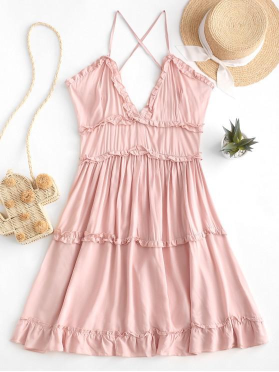 fashion Criss Cross Ruffle Mini Dress - SAKURA PINK XL