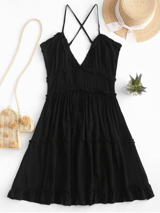 outfit Criss Cross Ruffle Mini Dress - BLACK M