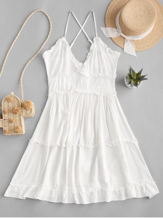 best Criss Cross Ruffle Mini Dress - WHITE L