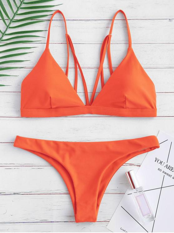 Traje de baño acolchado con tiras en la espalda - Naranja Brillante S