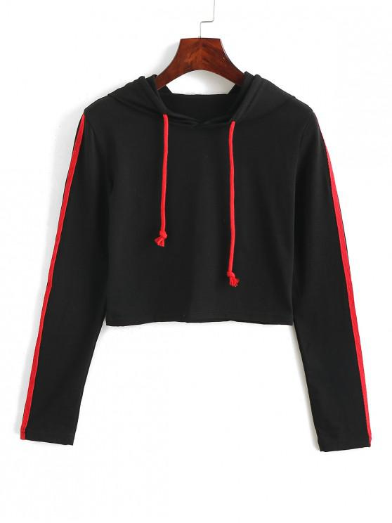 fashion Striped-detail Cropped Hoodie - BLACK L