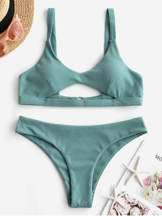 ladies ZAFUL Ribbed Cut Out Low Waisted Bikini Swimsuit - GRAYISH TURQUOISE S