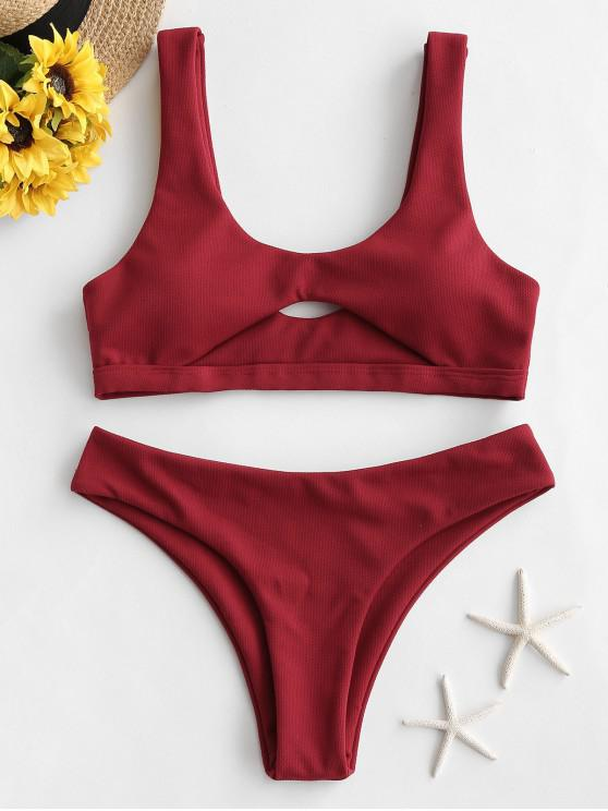 fancy ZAFUL Textured Cut Out High Leg Bikini Swimsuit - LAVA RED M