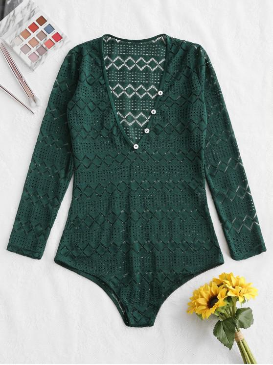 online Button Long Sleeve Lace Bodysuit - MEDIUM SEA GREEN XL