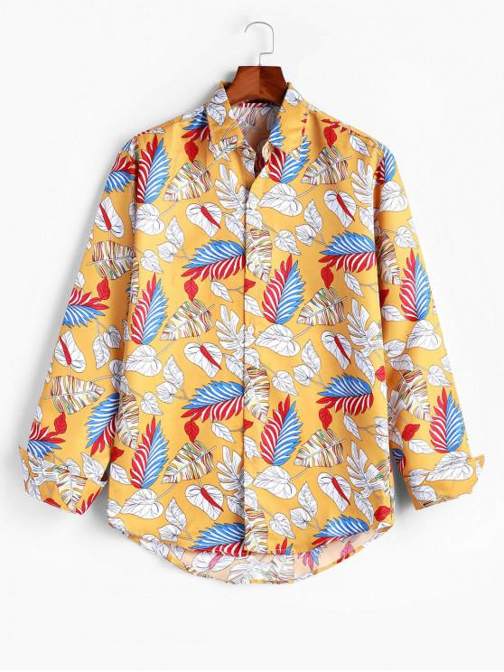 shop Colorful Tropical Leaf Print Curved Hem Vacation Shirt - YELLOW XS