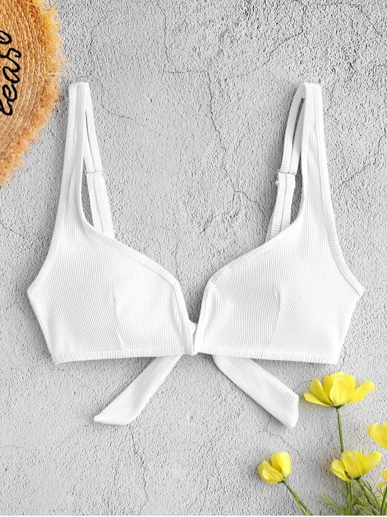 buy ZAFUL V-wired Textured Ribbed Bikini Top - WHITE M