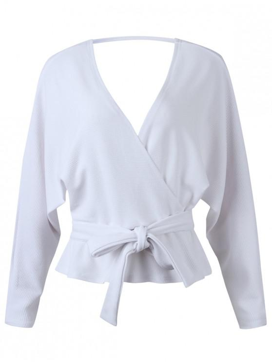 affordable Dolman Sleeves Belted Surplice Solid Blouse - WHITE L