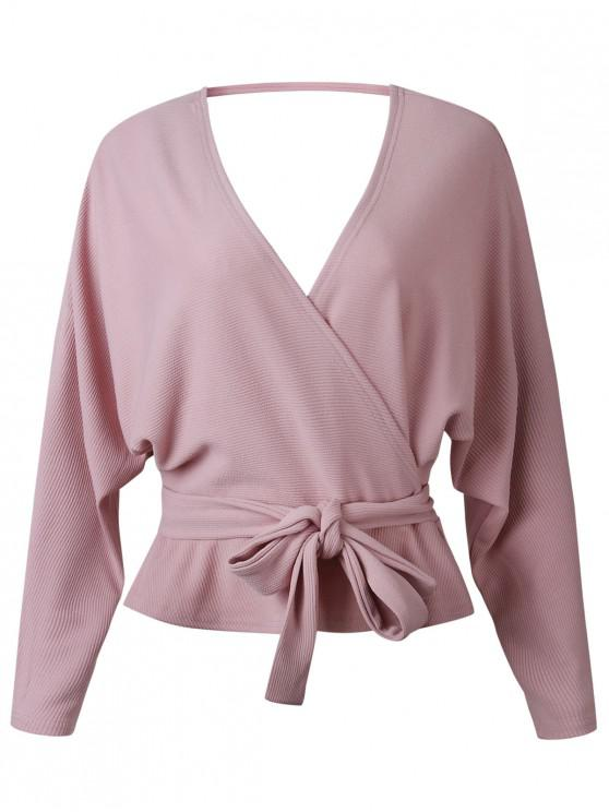 women Dolman Sleeves Belted Surplice Solid Blouse - PINK M