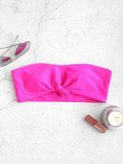 ZAFUL Knot Hem Bandeau Bikini Top - Hot Pink M