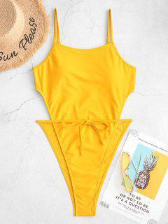 ZAFUL High Cut Backless One-piece Tie Waist Swimsuit - Yellow Xl