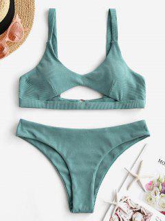 ZAFUL Maillot De Bain Bikini Côtelé Découpé à Taille Basse - Turquoise Grisâtre S