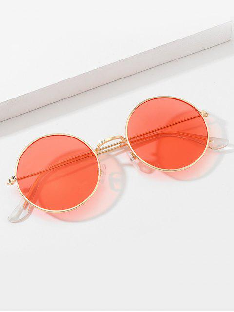 trendy Vintage Round Metal Rim Sunglasses - RED  Mobile