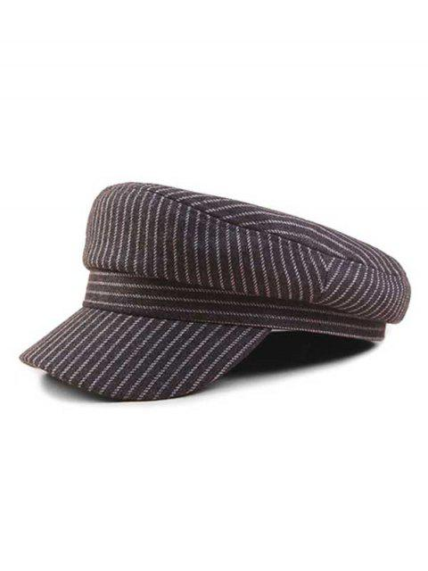 latest Vintage Striped Flat-topped Military Caps - GRAY  Mobile