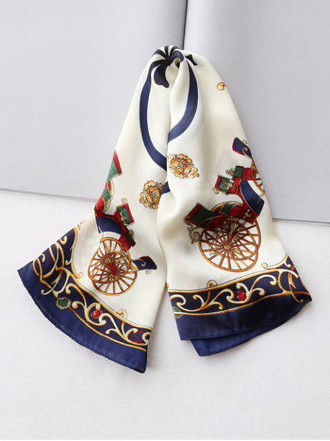 buy Bowknot Ribbon Printed Silky Square Scarf - CADETBLUE  Mobile