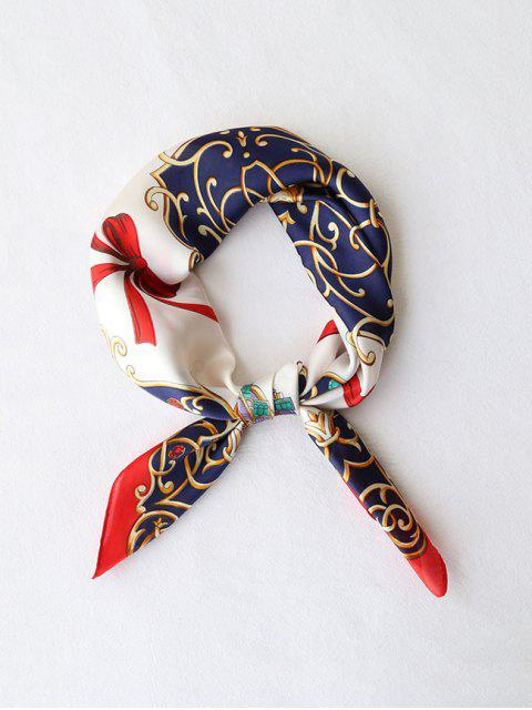 lady Bowknot Ribbon Printed Silky Square Scarf - RED  Mobile