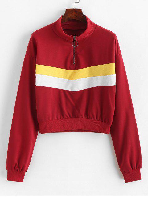 fashion O-ring Zip Color Block Sweatshirt - MULTI-A L Mobile