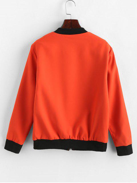 unique Contrast Zip Two Tone Ribbed Cuff Bomber Jacket - ORANGE L Mobile