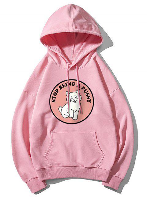 貓圖案打印連帽衫 - 粉 M Mobile