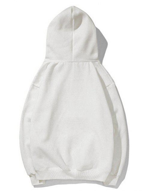 貓圖案打印連帽衫 - 白色 M Mobile