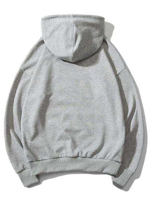 貓圖案打印連帽衫 - 灰色 S Mobile