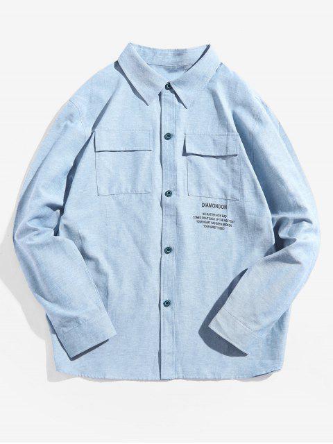 Camisa de manga larga con bolsillo en el pecho y solapa con estampado gráfico de letras - Denim Blue 4XL Mobile