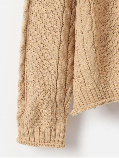 套衫下垂肩編織針織毛衣 - 輕卡其色 One Size Mobile