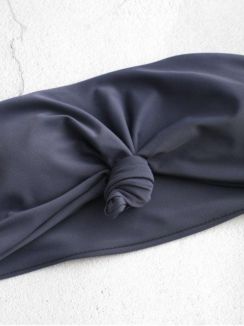 ZAFUL Haut de Bikini Bandeau à Ourlet Noué - Ardoise grise S Mobile