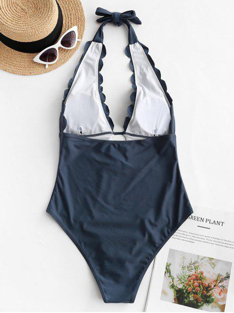 fashion ZAFUL Scalloped Halter Backless One-piece Swimsuit - SLATE GRAY L Mobile