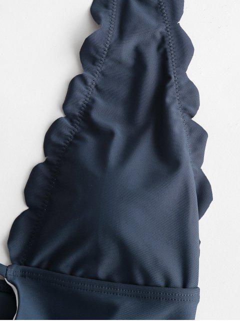 Traje de baño de una pieza sin espalda halter festoneado ZAFUL - Gris Pizarra XL Mobile