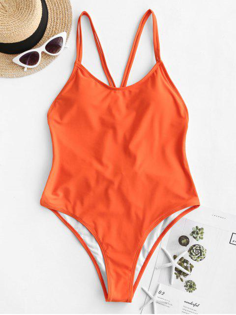 hot ZAFUL Backless Dual Straps One-piece Swimsuit - ORANGE M Mobile