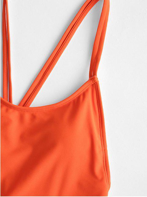 ZAFUL露背雙肩帶連體泳衣 - 橙子 M Mobile