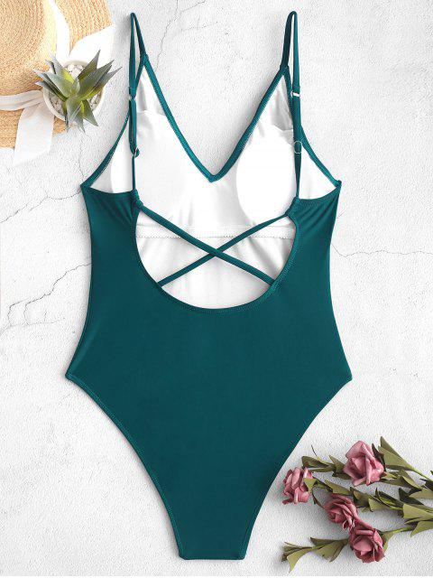 chic ZAFUL Criss Cross High Cut Backless One-piece Swimsuit - GREENISH BLUE L Mobile