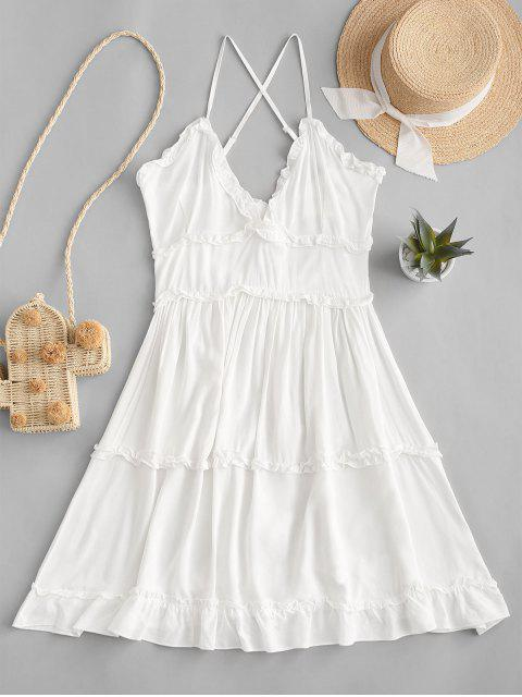 Criss Cross vestido mini con volantes - Blanco L Mobile