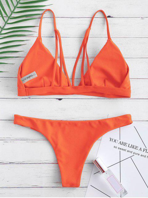 Мягкий купальник на спине - Ярко оранжевый S Mobile