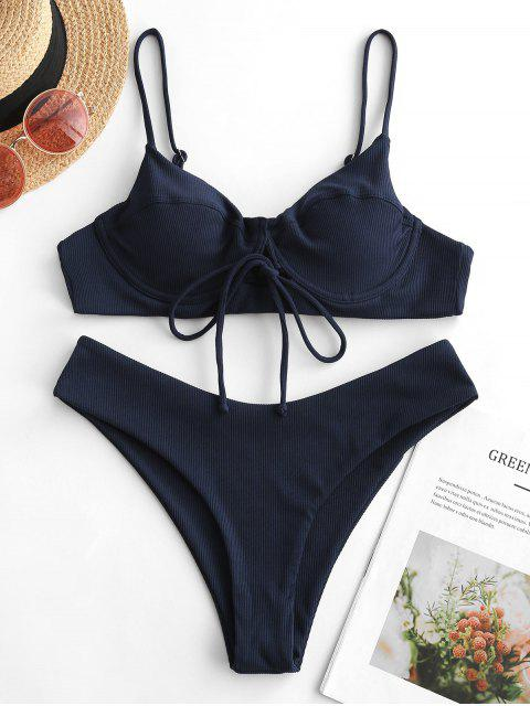 shop ZAFUL Ribbed Lace Up Underwire Bikini Swimsuit - NAVY BLUE M Mobile