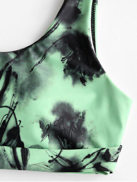 Traje de baño Tankini de corte alto con pintura de tinta ZAFUL - Manzana Verde XL Mobile