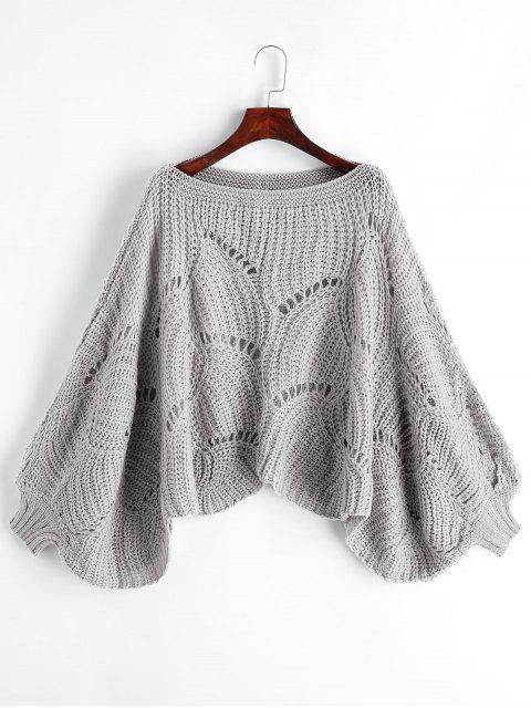 扇形下擺鏤空針織燈籠袖套衫毛衣 - 灰色 One Size Mobile