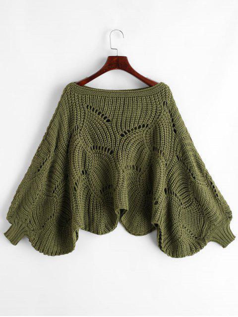 扇形下擺鏤空針織燈籠袖套衫毛衣 - 綠色 One Size Mobile