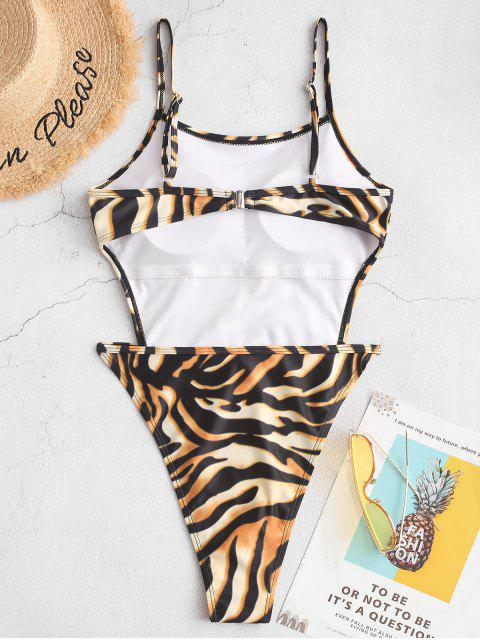 chic ZAFUL Tiger Print High Cut One-piece Tie Waist Swimsuit - MULTI-A S Mobile
