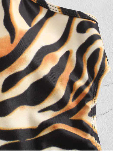 new ZAFUL Tiger Print High Cut One-piece Tie Waist Swimsuit - MULTI-A M Mobile