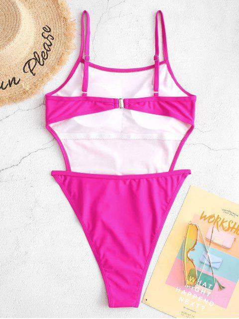 women ZAFUL Neon High Cut Backless One-piece Tie Waist Swimsuit - DEEP PINK S Mobile