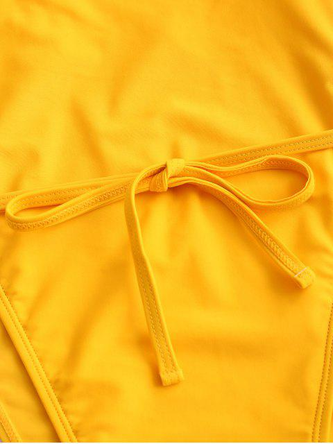 lady ZAFUL High Cut Backless One-piece Tie Waist Swimsuit - YELLOW L Mobile