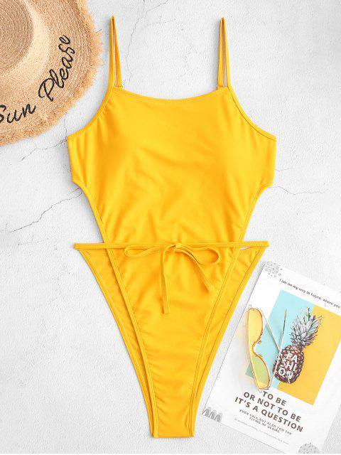best ZAFUL High Cut Backless One-piece Tie Waist Swimsuit - YELLOW S Mobile