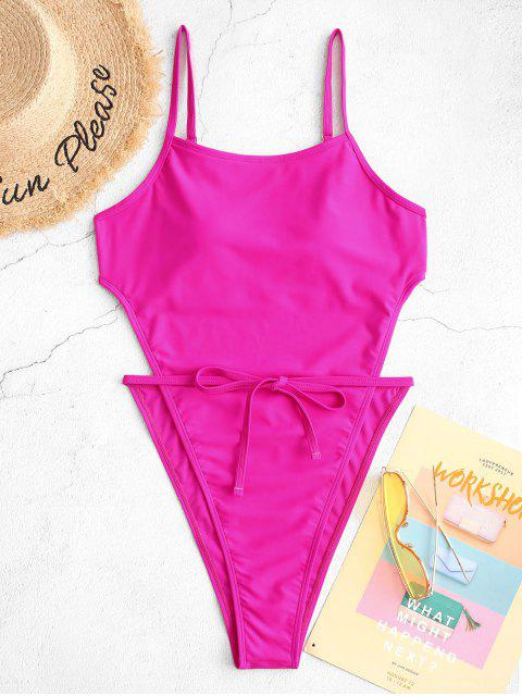 hot ZAFUL Neon High Cut Backless One-piece Tie Waist Swimsuit - DEEP PINK L Mobile