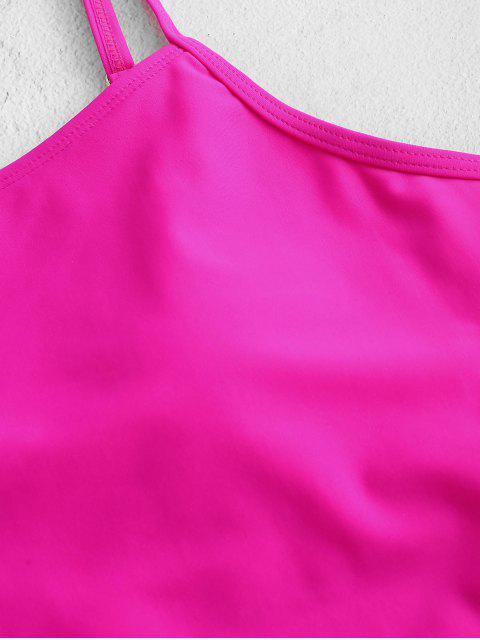 ZAFUL Неон Высокий вырез Открытая спина Талия с бантом Слитный Купальник - Глубокий розовый XL Mobile