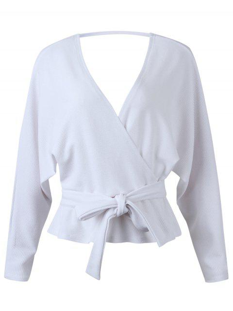 hot Dolman Sleeves Belted Surplice Solid Blouse - WHITE XL Mobile